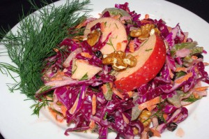 COLESLAW AND APPLE WALNUT SALAD