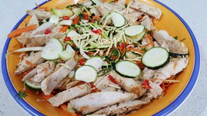 Chicken and crunchy noodle salad.
