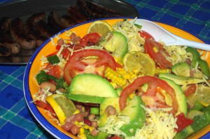 Healthy Mexican salad with avocado, beans and corn