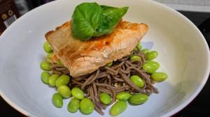 Salmon broad bean and salad