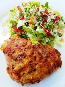 chicken spicy and salad