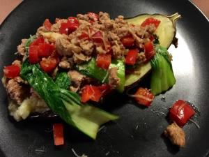 eggplant roast with pork and veg