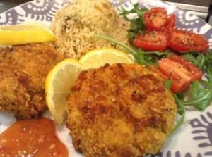 fish cakes and salad 1