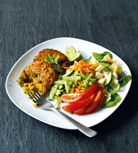 fish cakes and salad 2