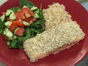 salmon Cashew crusted baked