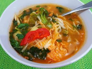 Thai style veg and noodle soup