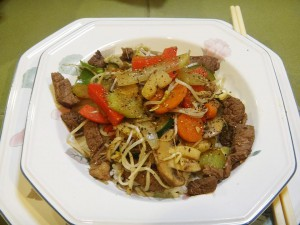 Chinese stir-fry of beef & 9 vegetables 2