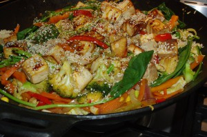Stir fry with sesame seeds