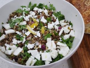 BROWN LENTIL AND FETA SALAD